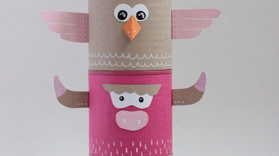 Cr er un totem indien color et recycl toilettes cr atif et artisanat - Papier toilette colore ...