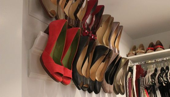 Awesome idea for small spaces! Crown Molding Shoe Shelves- perfect space saver