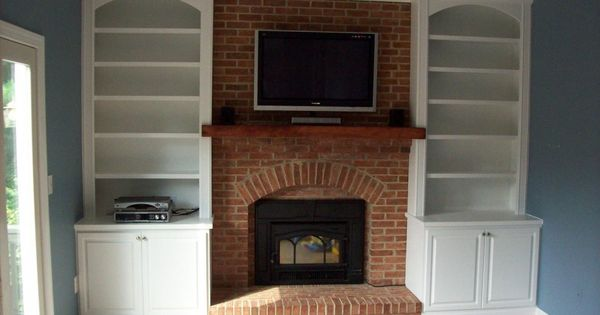Interior Sweet Brown Wooden Floating Fireplace Shelves