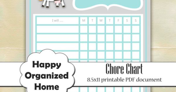 cute cow printable chore chart for kids by happyorganizedhome   5 00
