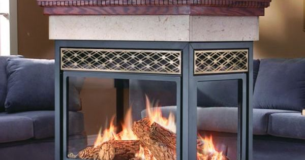 Four sided fire places gas burning fireplace napoleon for 4 sided fireplace