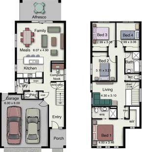 Plano De Casa De 2 Plantas Moderna Y Muy Atractiva Con 4 Dormitorios 2 Plano Casa 2 Pisos Planos De Casa De Dos Pisos Planos De Construccion De Vivienda