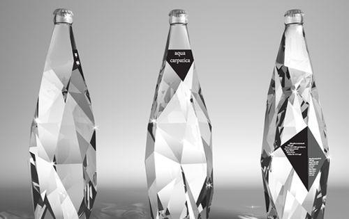 "Aqua Carpatica Water Packaging Design by Cristiano Giuggioli, ""[A] diamond bottle becomes"