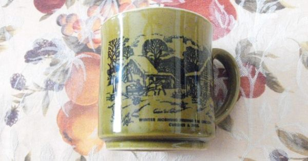 Vintage Green Currier And Ives Coffee Cup Winter Morning Feeding The Chickens Vintage Green Coffee Cups Shopping Coupons