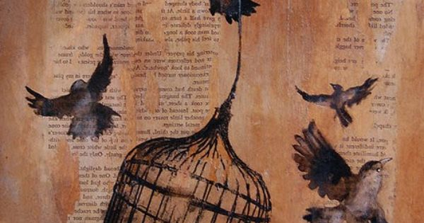 love drawing on book pages. birds and birdcage.