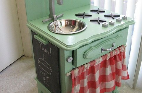 Another cute play kitchen (made from a night stand!). I love the