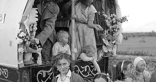 Irish Travellers' Decorated Caravan - Family in their decorated caravan en route