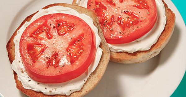 Bagel & Cream Cheese with Tomato - Fitnessmagazine.com....such a quick easy breakfast..