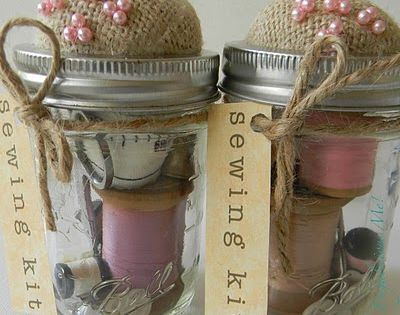Great gift idea! Mason jar sewing kit. Burlap pin cushion on top.