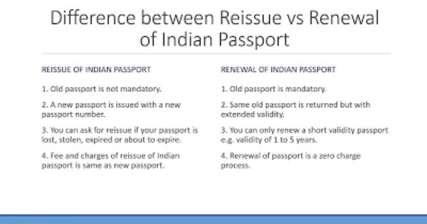 Difference Between Re Issue And Renewal Of Indian Passport