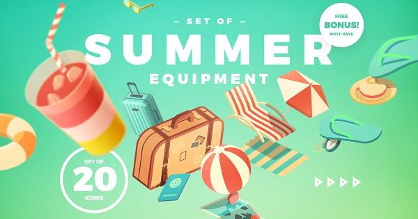 Set of Summer Equipment by blauananas on @creativemarket