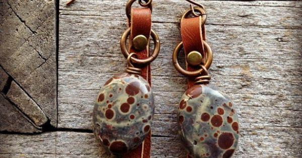 Spotted Jasper And Leather Earrings By Loreleieurtojewelry