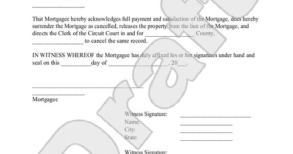 Sample Satisfaction of Mortgage Form Template – Satisfaction of Mortgage Form
