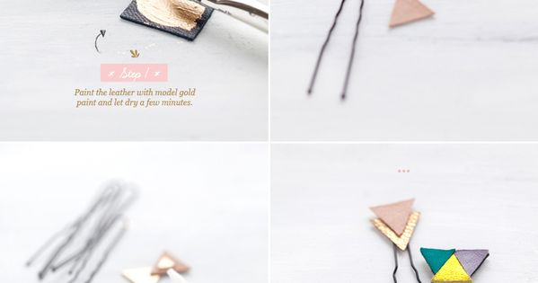 leather geometric hairpins