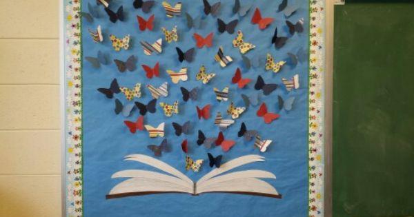 Classroom Bulletin Design ~ Book butterfly bulletin board education pinterest