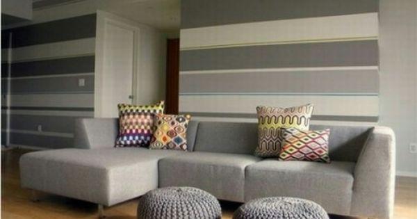 Infatti, vestire le pareti a righe è un modo creativo e moderno per. Righe Orizzontali Dipinti Soggiorno Parete Del Soggiorno Design Per Il Soggiorno