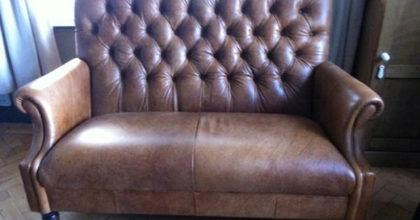 Laura Ashley Lancaster Colorado Brown Leather Small 2 Seater Sofa
