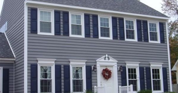 Gray Siding With Blue Shutters Google Search Hahaha