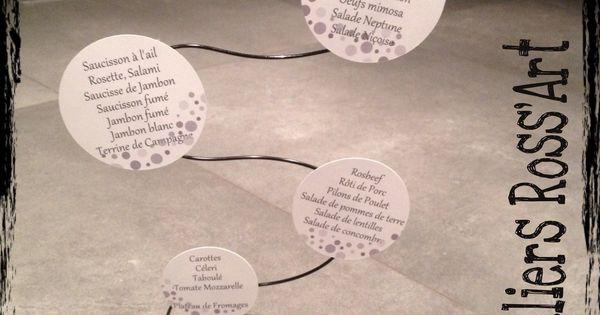 menu mariage original fil aluminium bulle rouge noir et blanc mariage et rouge. Black Bedroom Furniture Sets. Home Design Ideas