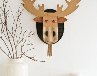 diy deco tete de cerf carton bricolage pinterest. Black Bedroom Furniture Sets. Home Design Ideas