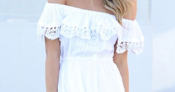 Summer looks with white dress - off shoulder