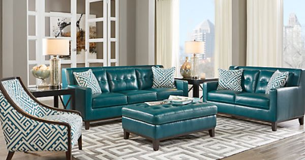 Reina green 3 pc leather living room 2 find for Find living room furniture