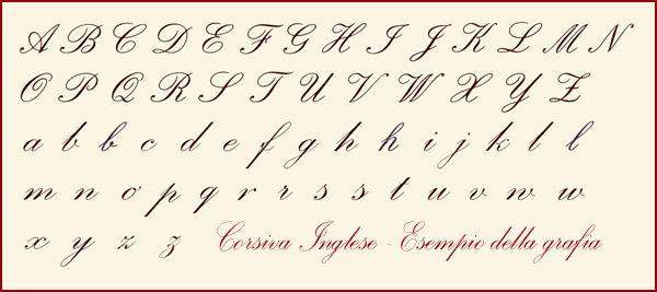 Caratteri In Corsivo Inglese Caratteri Corsivi Lettere In