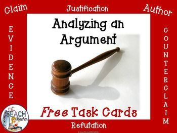 Analyzing An Argument Free Task Cards Task Cards Argumentative