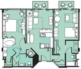 Two Bedroom Villas Floorplan At Disney S Beach Club Resort Beach Club Villas Disney Beach Club Beach Club Villas Disney