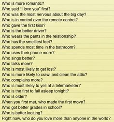 Most Likely To Questions >> Had A Good Discussion With Garry About These Questions