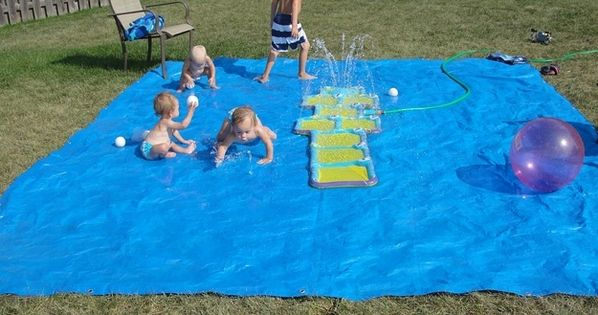 DIY Splashpad : 32 Cheap And Easy Backyard Ideas That Are Borderline