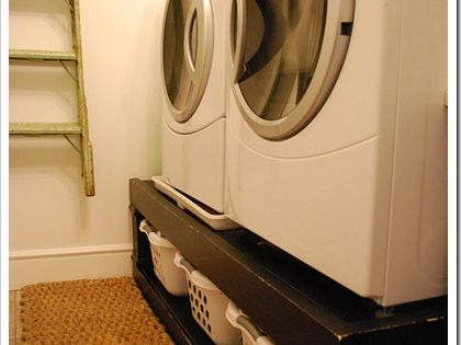 Laundry basket storage under washer and dryer. I would use cute wicker