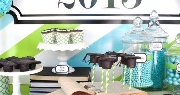BLUE AND GREEN THEMED GRADUATION PARTY | BLUE & GREEN ...