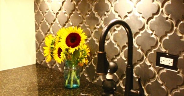 "I love the backsplash ::: Beveled Arabesque Ceramic tile in ""Up in"