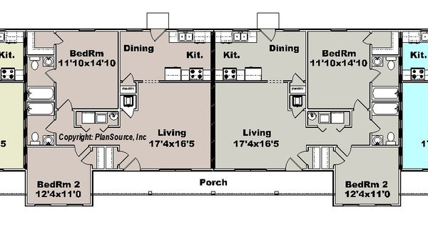 Apartment plan j1964 4b 4 plex multi unit plans for Apartment building plans 6 units