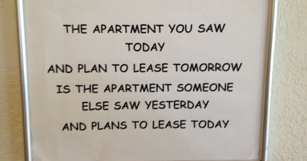 This is going up in my office ASAP | Apartment Marketing ...