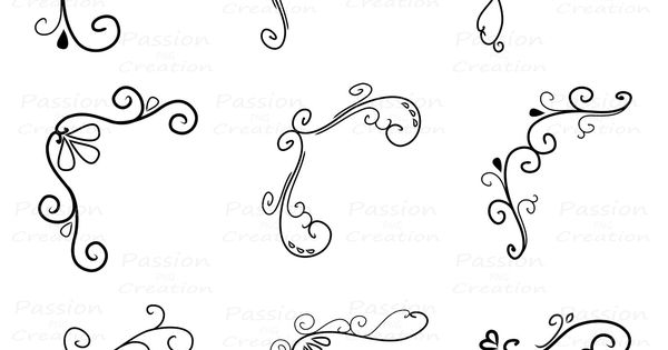 Corner flourish swirls border calligraphy decorative