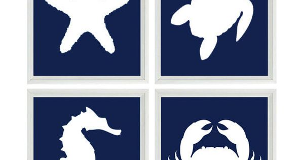 Beach art print set nautical nursery bathroom navy blue for Navy and white bathroom accessories