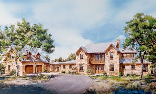 Plan 46008hc Unique Hill Country Home Plan Stone House Plans Hill Country Homes Country Style House Plans
