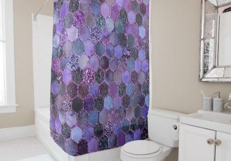 Luxury Purple Metal Foil Glitter Honeycomb Pattern Shower Curtain