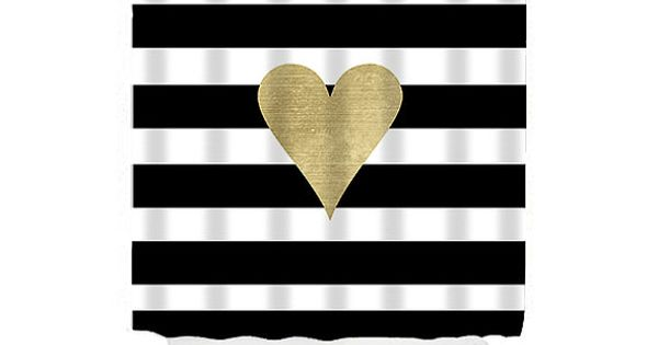 Black and gold shower curtain striped shower curtain for Black and white striped bathroom accessories