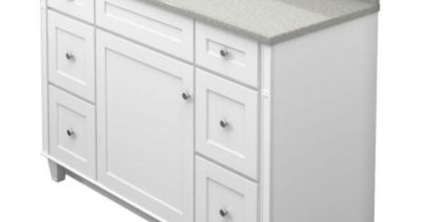 Kraftmaid 48 In Vanity In Dove White With Natural Quartz Vanity Top In Painted Turtle And White