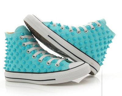 Converse studded Chuck Taylor custum converse high top skyblue shoes stud