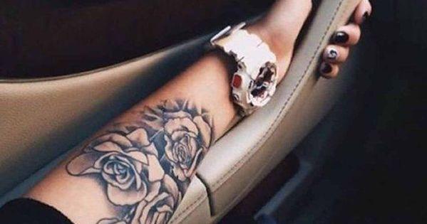 22d558dda Realistic Black Rose Flower Floral Thigh Leg Arm Wrist Bum Tattoo Ideas for Women  at MyBodiArt.com #AwesomeTattoos #TattooIdeasU…
