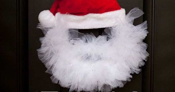 Tulle wreath wreaths and santa wreath on pinterest
