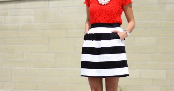 Red lace shirt, black and white striped skirt, pearl necklace | spring
