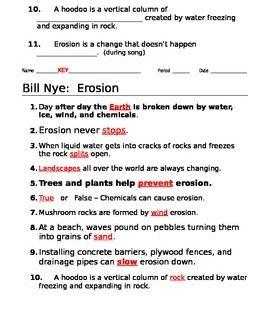 Bill Nye Erosion Video Guide Bill Nye Erosion Nye