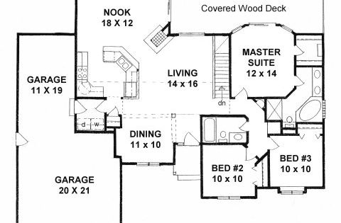 Plan 1436 3 Bedroom Ranch W Tandem 3 Car Garage