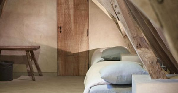 sol b ton mur b ton et charpent en bois brut enfilade de lit d coration nature pinterest. Black Bedroom Furniture Sets. Home Design Ideas