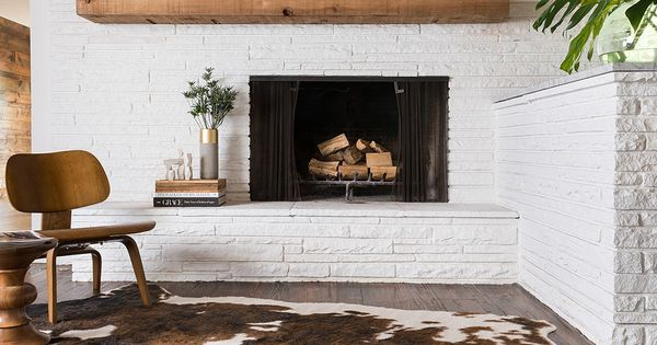Off Center Fireplace With Mantle Idea Add More Bricks To